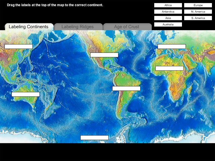 Noaa ocean explorer education multimedia discovery missions this activity consists of naming the continents identifying mid ocean ridges and determining gumiabroncs Images
