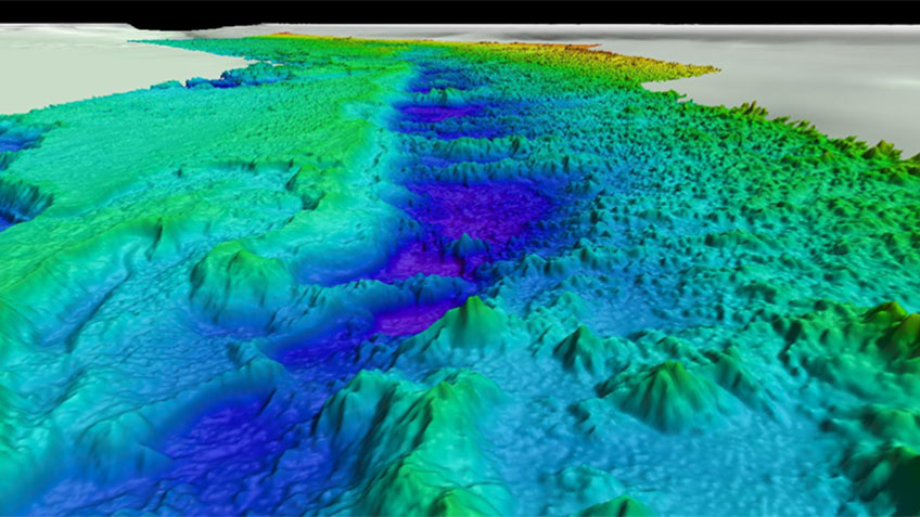 High-resolution multibeam bathymetry collected by NOAA Ship Okeanos Explorer showing the topography of the Stetson North region.