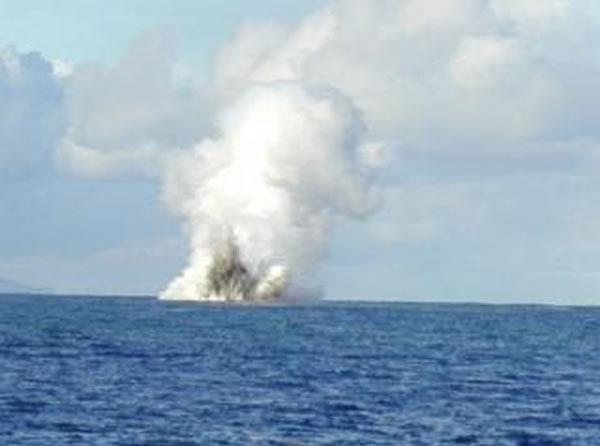 undersea volcano erupting—