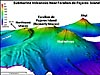 Bathymetry of three volcanoes