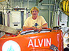 Educator Specialist Margaret Olsen on top of the DSV Alvin