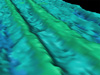 This low-resolution bathymetric map shows us the average seafloor depth of a 200m square area.