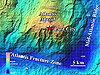 The Atlantis Massif or mountain is bounded to the east by the slow-spreading Mid-Atlantic Ridge
