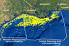 Map of the northern Gulf of Mexico showing the nearly 4,000 active oil and gas platforms.