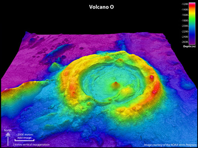 Volcano O, a huge caldera in the Northeast Lau Basin. Image looks toward the north, 2 times vertically exaggerated.