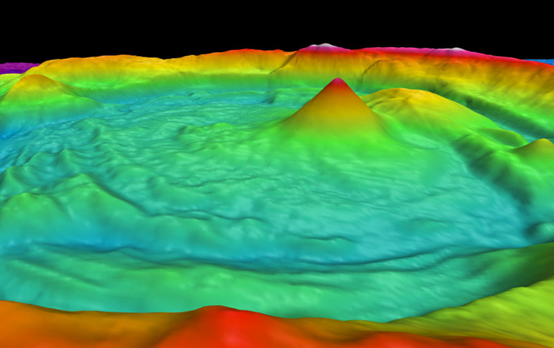 Satellite altimetry and multibeam sonar image of Volcano O.