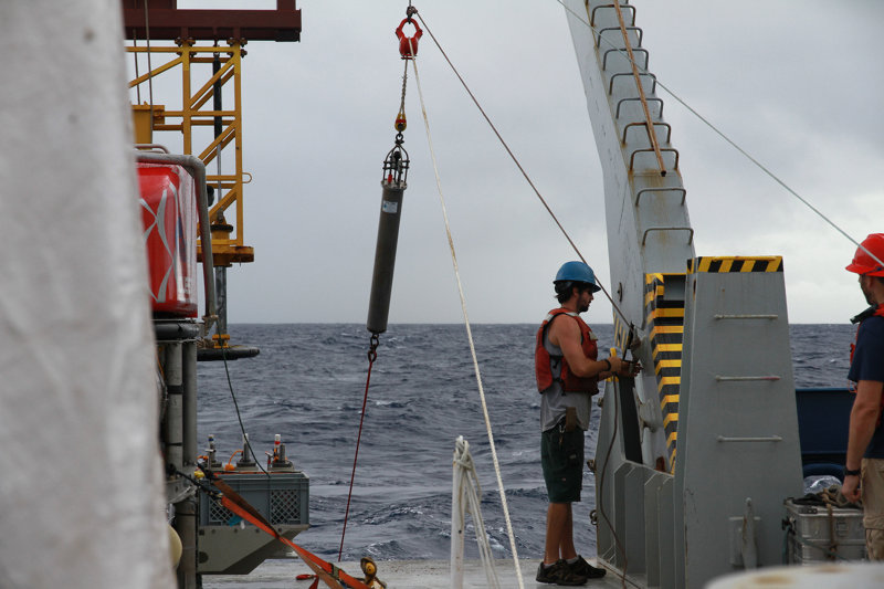 The hydrophone is finally recovered from the seafloor near West Mata.