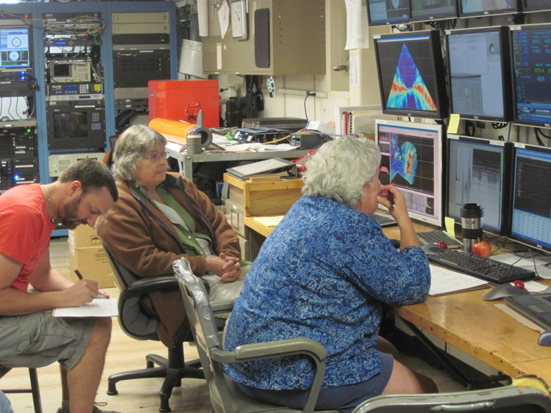 Scientists in computer lab on board the R/V Roger Revelle examine multibeam and CTD data.
