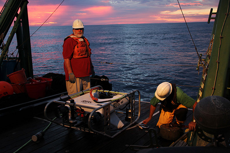 The end of the day's ROV operations were marked by a deep red sunset and calm sea.