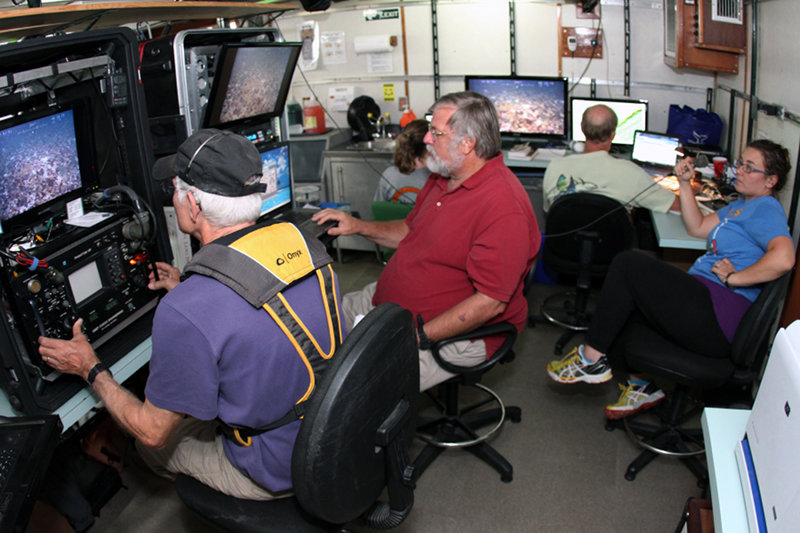The ROV team collaborates with the mission scientists collecting video and still images.
