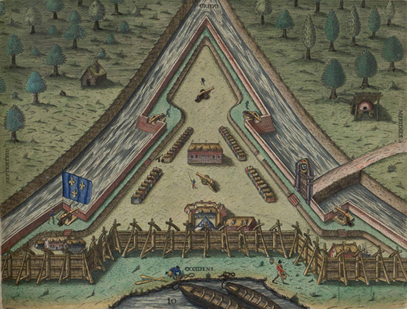 Fort Caroline after completion, as drawn by Jacques Le Moyne and reproduced by Theodore de Bry.