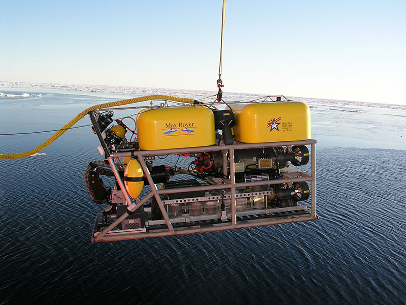 The ROV is lowered into the Arctic waters during NOAA's 2005 The Hidden Ocean expedition.