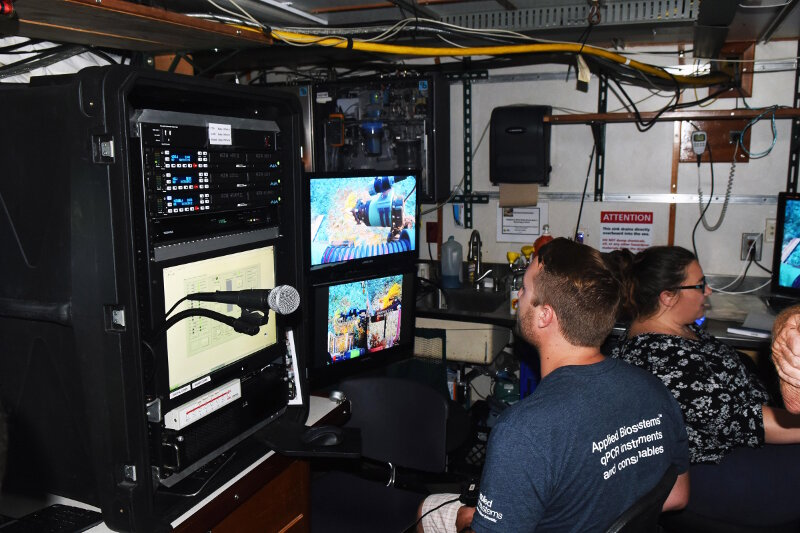 PhD Candidate Michael Studivan using the ROV toolsled controls to collect corals, sponges, algae, and carbonate rocks for taxonomic identification and genetic research into connectivity across mesophotic coral reefs in Cuba and the U.S.