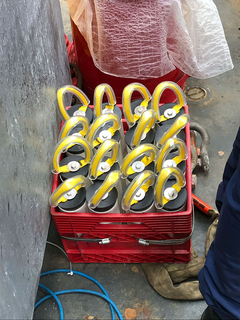 Quivers on the deck of the Henry Bigelow, ready to be loaded on the ROPOS ROV.