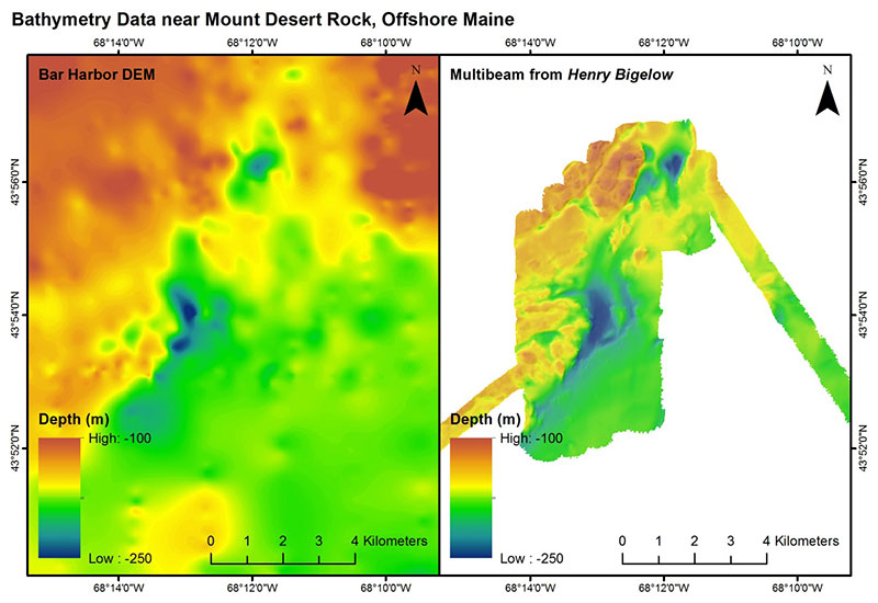 Multibeam bathymetric maps of the seafloor near Mount Desert Rock in the Gulf of Maine, an area that has known coral gardens. Map on the left is an older multibeam map of the area; the higher resolution, more detailed map on the right is the result of the latest multibeam mapping by the Bigelow. Warmer colors (reds) indicate higher topographic relief (shallower depths, and often an indication of hard bottom), colder colors (blue) indicate lower topographical relief (deeper depths, and often an indication of soft or muddy bottoms). Deep-sea corals gardens in the Gulf of Maine tend to be found in areas of higher topographic relief.