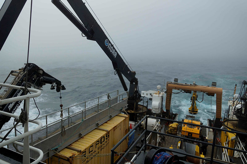 Rough seas and winds in the Gulf of Maine bring remotely operated vehicle operations to a halt.
