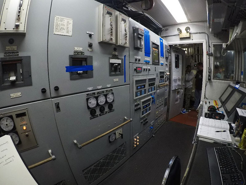 The engine control room of NOAA Ship Nancy Foster.