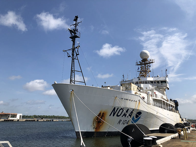 NOAA Ship Ronald H. Brown docked at its home port at Pier PAPA at the Federal Law Enforcement Training Center in Charleston, SC.