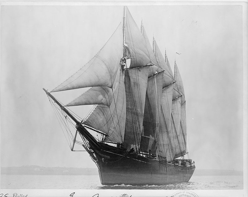 Governor Ames was the first five-masted schooner on the eastern seaboard, built in 1888. It has an interesting career that took it to the Atlantic, Gulf of Mexico, and even the Pacific, until it sank on December 13, 1909.