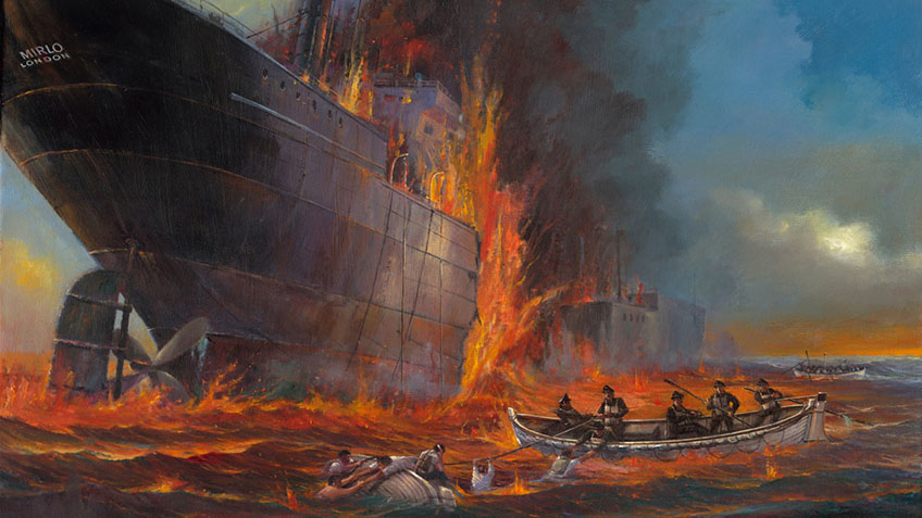 The burning merchant ship Mirlo. Image courtesy of Austin Dwyer.