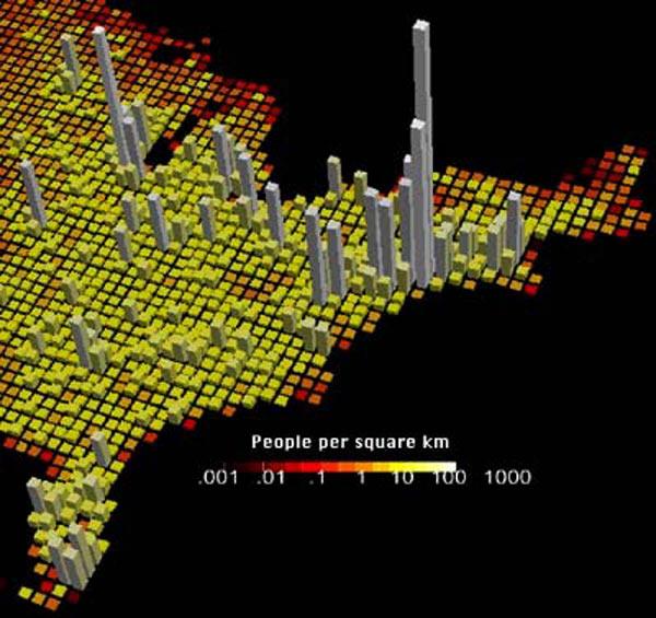 NOAA Ocean Explorer Deep East 2001 map of population density of