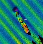 In September 2009, a National Oceanic and Atmospheric Administration/Fugro multibeam sonar survey of the area around the Farallon Islands documented a probable shipwreck. Credit: NOAA/Fugro