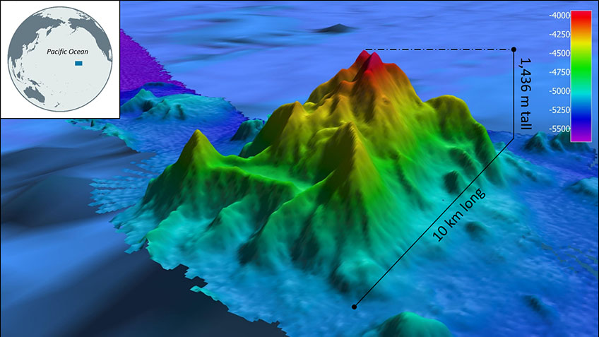 This image shows the topography of the Okeanos Explorer Seamount.