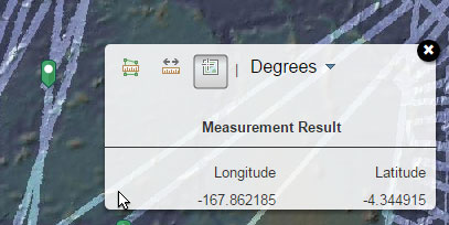 Longitude and latitude of the point will appear in the measurement box