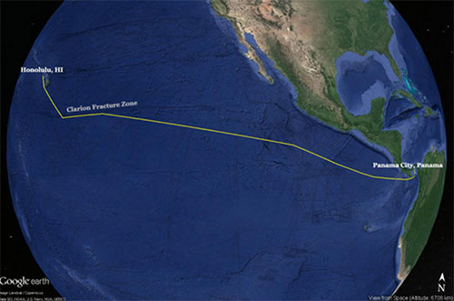 Map showing the approximate planned transit path for the Okeanos Explorer from Honolulu, Hawaii, to Panama City, Panama (yellow line).