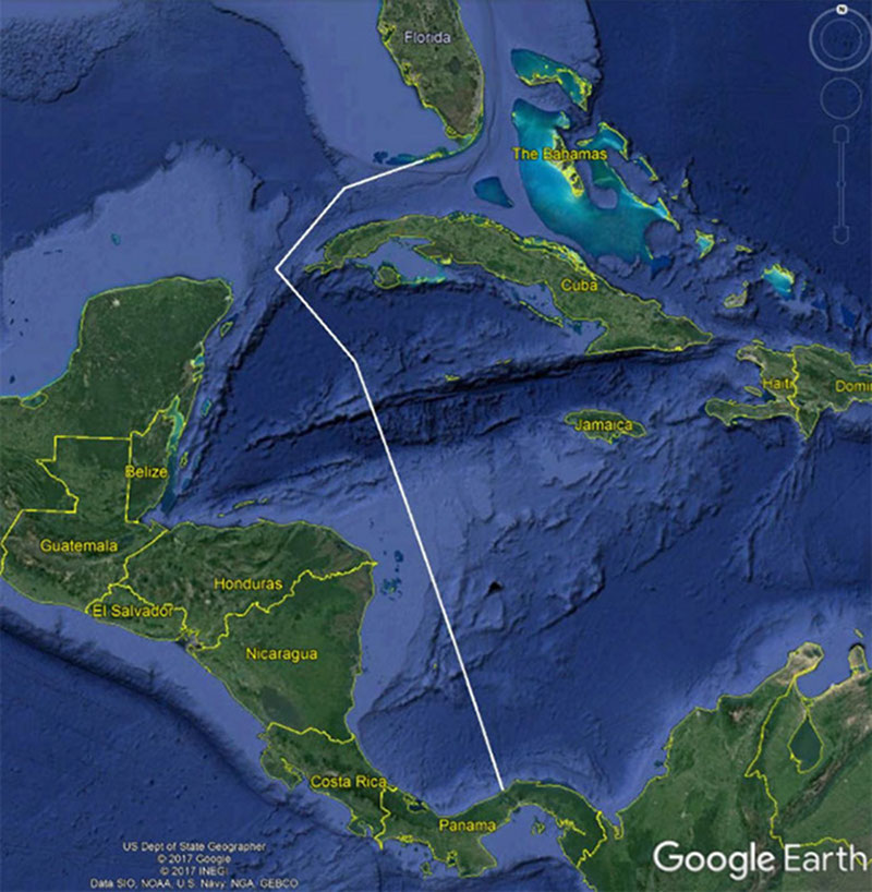 Map showing the approximate planned transit path for the Okeanos Explorer from Panama to Florida (white line).