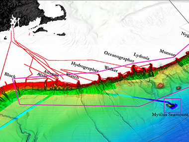 Map showing submarine canyon and seamount areas expected to be explored during the Okeanos Explorer Northeast U.S. Canyons Expedition 2013.