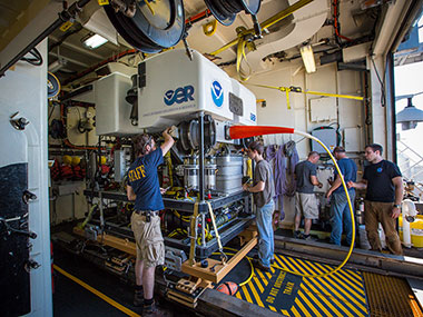 The Okeanos Explorer's ROV team uses the weather day to fine tune the vehicles and preform any maintenance that is required.