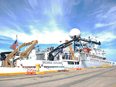 NOAA Ship Okeanos Explorer pierside at her homeport in North Kingstown, Rhode Island.