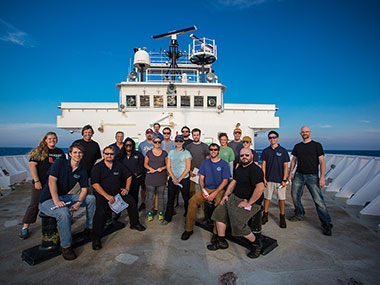 16 dives in 16 days, and everyone is still smiling! We had a great first leg of the Northeast U.S. Canyons 2013 Expedition. Mission personnel pose for a group photo as NOAA Ship Okeanos Explorer steams to port in New York, New York.