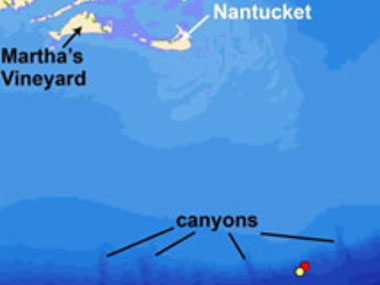 The red and yellow symbols respectively mark the locations of the July 11 and July 12, 2013, Okeanos Explorer and D2 explorations of the seafloor at cold seeps south of Nantucket.