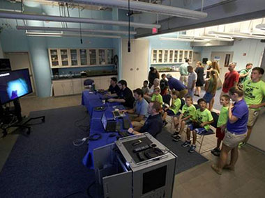 Here the South Carolina Aquarium hosted NOAA scientists as well as aquarium visitors during part of the expedition. Scientists were able to engage with the public and answer questions as they joined the expedition together.