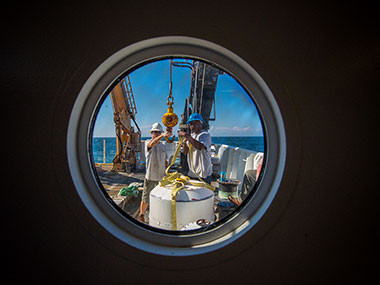 Crew aboard NOAA Ship Okeanos Explorer prepare for the 2013 Northeast U.S. Canyons Expedition.