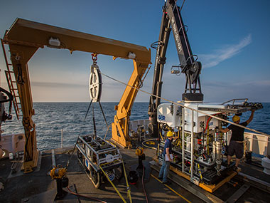 NOAA's Office of Ocean Exploration and Research's ROV team prepares the ROV Deep Discoverer for the first dive of the mission.