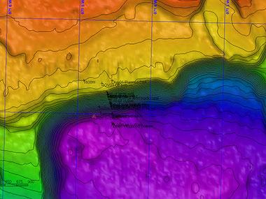 Multibeam map of the Dive 01 overlaid with the track of ROV Deep Discoverer (D2). Multibeam sonar helps scientists identify potential targets for exploration and helps ROV pilots navigate.