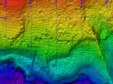 Multibeam map of the Dive 02 overlaid with the track of ROV Deep Discoverer.