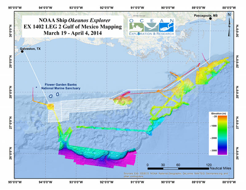 Map showing the area where the Okeanos Explorer plans to conduct operations during the second leg of the Gulf of Mexico exploration expedition.