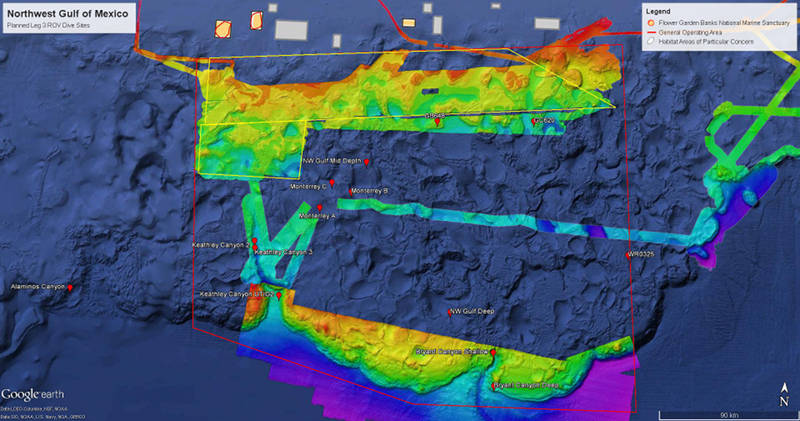 Map showing the Central West Florida Escarpment where ROV operations will be conducted during Leg 3.