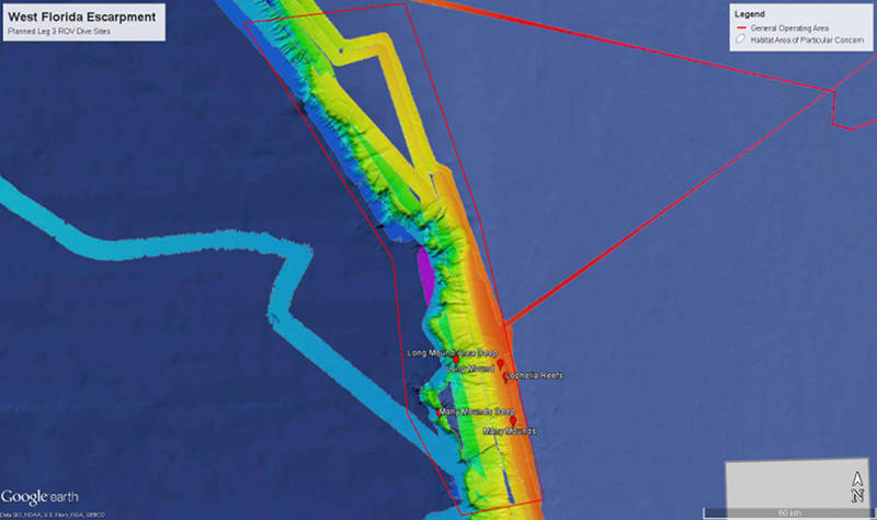 Map showing the area of the Northwest Gulf of Mexico for Leg 3 ROV operations.