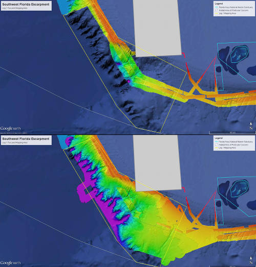 Before and after map showing operating area for Leg 1 mapping operations.