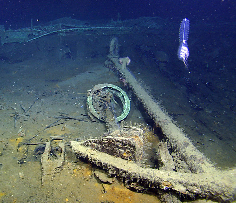Lying next to an anchor are the remains of the capstan from the Monterrey C site in more than 4,300 feet of water.