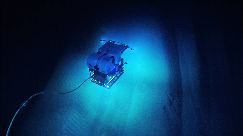 ROV Deep Discoverer explores the interesting geomorphology of Bryant Canyon.