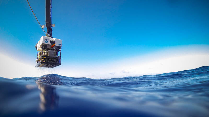 ROV Deep Discoverer is recovered from a dive during the 2014 Gulf of Mexico Expedition.