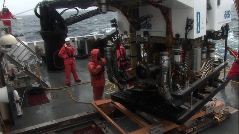 With winds over 25 knots, ROV Deep Discoverer had to be recovered before we reached the seafloor on Dive 6.