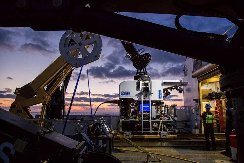 Remotely operated vehicles Deep Discoverer and Seirios are secured to the deck and ready for the first dive.