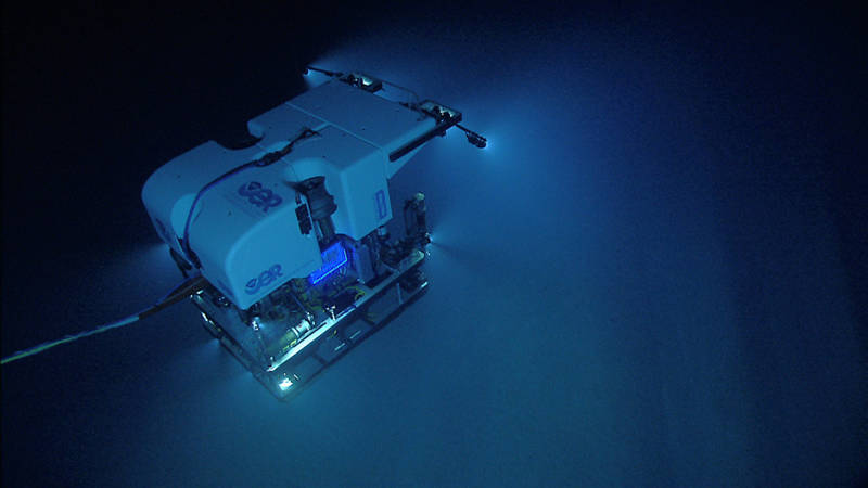 ROV Deep Discoverer as seen from the second part of the two-bodied system, camera sled Seirios.